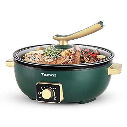 """Topwit Electric Hot Pot with Adjustable Power Control, 3.5L Removable Nonstick Indoor Electric Grill for BBQ, 12"""" Deep Dish Multifunction Electric Skillet, Electric Frying Pan with Tempered Glass Lid"""