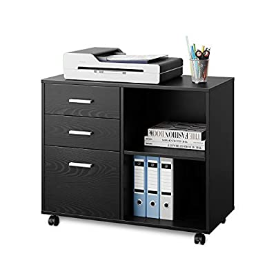 DEVAISE Lateral File Cabinet, Wood Printer Stand with Storage Shelf