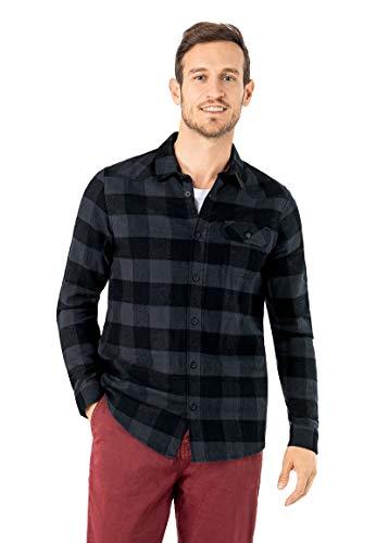 Urban Surface Herren Flanellhemd Langarm kariert aus Baumwolle Regular Fit Business- & Freizeithemd Dark-Blue XXL