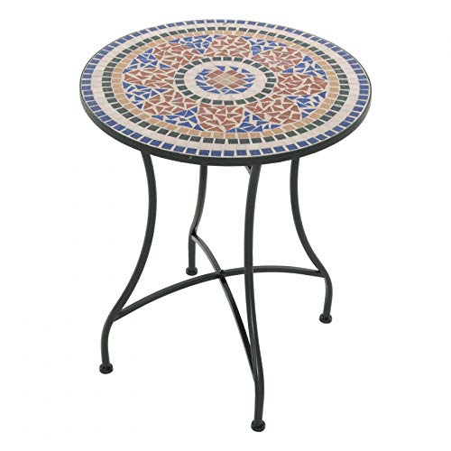 MACOShopde by MACO Möbel Raburg Mosaiktisch Mayla in ORANGE/TERRAKOTTA/BLAU - Gartentisch mit einzigartigem Muster, handgefertigtes Unikat - Rund ø 60 cm, Höhe 70 cm