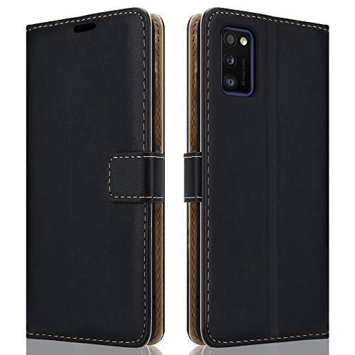 HSP Schwarze Handyhülle kompatibel mit Samsung Galaxy A41 | Premium Leder PU (Kunstleder) Hülle | Flip Hülle Klapphülle | Geeignet für induktives Laden | Passexakte Schutzhülle