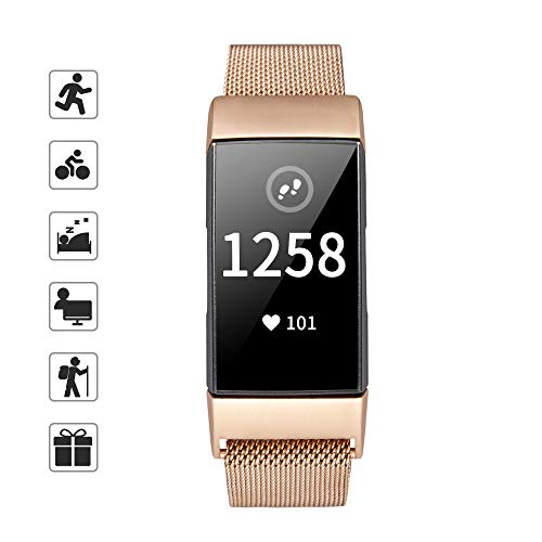 TOMALL Metal Bands for Fitbit Charge 3 Stainless Steel Replacement Wristband for Women Men (Rose Gold)