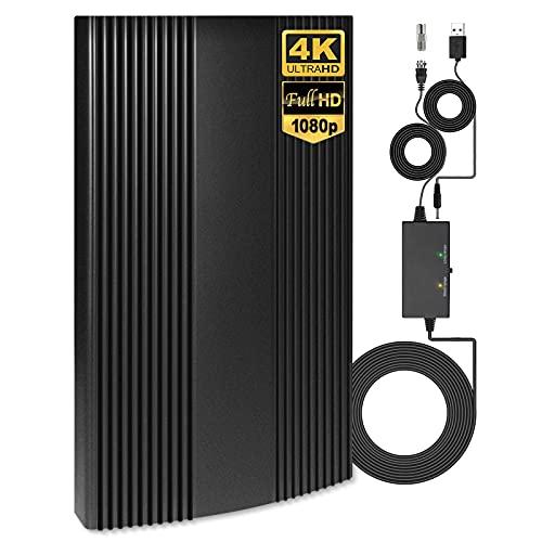 N NEWKOIN 室内 アンテナ HD - 地デジアンテナ【最新強化版】卓上 TV アンテナ ブースター UHF VHF対応 120KM受信範囲 設置簡単 USB式 避雷(ブラック)