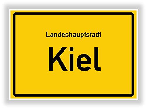 Unbekannt Ortsschild - Kiel - Hauptstadt - Landeshauptstadt - Ortseingangsschild Deko Bild - Kunstdruck Poster