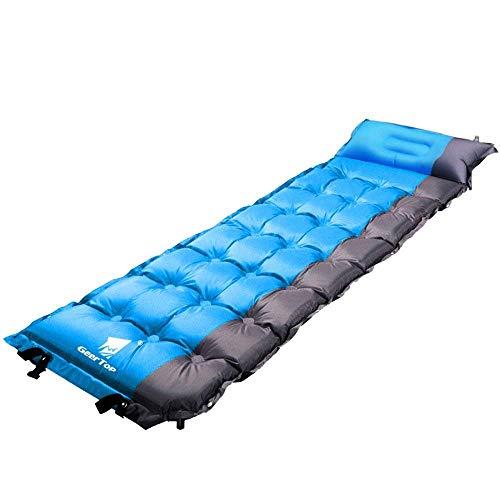 GEERTOP Selbstaufblasbare Camping Luftmatratze Tragbare Isomatte 5cm Dick 1 Personen Matratze Matte Unterlage mit Kopfkissen selbstaufblasend für Camping