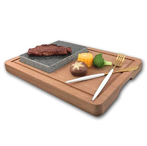 Gegrilltes Steak Natural Lava Rock Plattenteller-Set, Grillplatte Aus Vulkanstein, Grillplatte Aus Granit, Lava-Bratpfannen-Steakstein, Lava-Gebratener Steakplatten-Steintopf