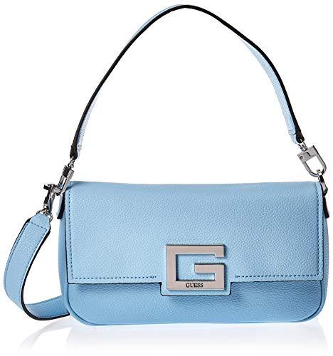 Guess Biosaborse VD758019 - Bandolera para mujer con logotipo azul con doble correa y bolsillos interiores.