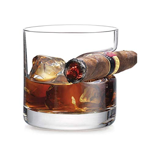 Xbai Vidrio de Whisky de Lujo Creativo de Lujo - Vidrio de Whisky Antiguo con Descanso de cigarro con sangría