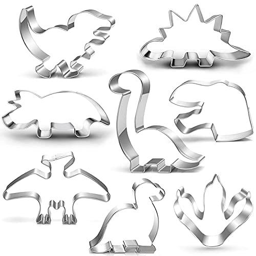 Dinosaurier Ausstecher keksausstecher Set-8-teilig-Trex, Brontosaurus, Spinosaurus, Brachiosaurus, Triceratops, Dinosaurier Kopf Fußabdruck, Dinosaurier Ausstechform Backform für Kinder Dino Party