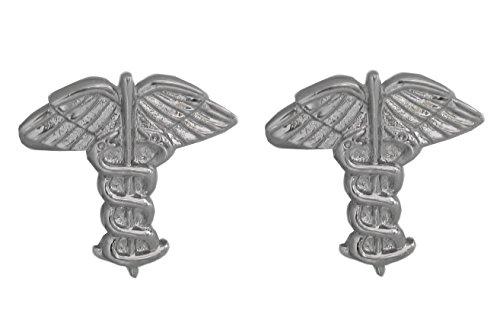 Unbekannt Medizin Äskulapstab Manschettenknöpfe silbern inkl.Geschenkbox