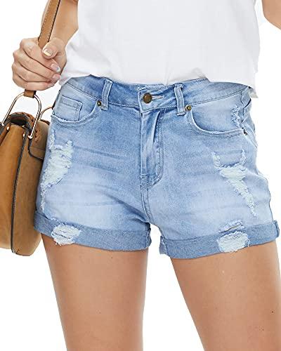 HVEPUO Boyfriend Damen Denim Kurze Hose Stretch Lässige gebrochene Kante Used Look Blue Jeans Shorts Kurz Blau gewaschen L