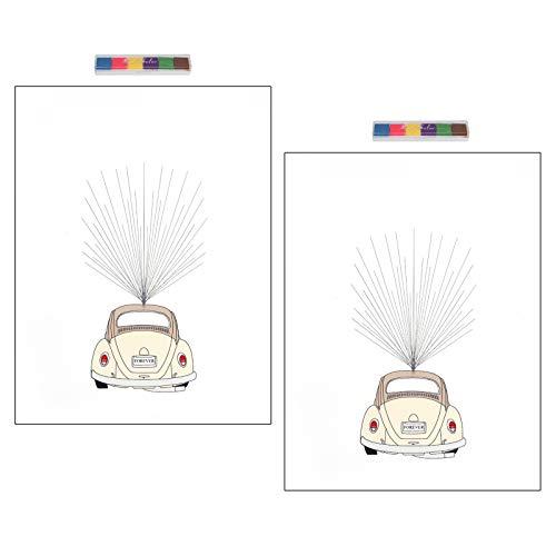 mit Inkpad Cartoon Fingerabdruck Gästebuch, Hochzeits-Gästebuch, langlebig für Jubiläen...