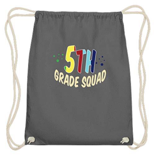 SPIRITSHIRTSHOP 5th Grade Squad, Fifth, Fünftklässler, Fünftklassler, Schule, Schüler, Schülerin, Besuchen - Baumwoll Gymsac -37cm-46cm-Grafit Grau