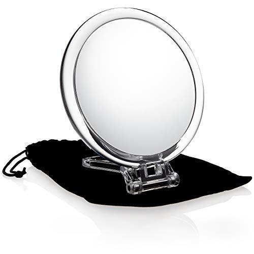 Fantasia Miroir de voyage pliable en acrylique double face avec grossissement 10x avec poignée, miroir de maquillage avec étui cadeau en velours Transparent 16 cm