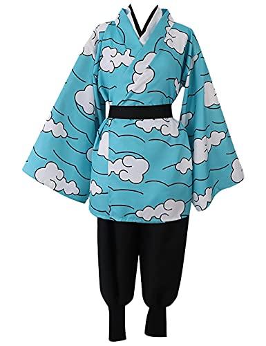 CCTor Disfraces de Cosplay de Anime Demon Slayer Kamado Tanjirou - Trajes de fiesta de espect¨¢culo de kimono de nube japonesa unisex-Azul_L