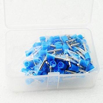 Careshine 100 PCS Dental Polishing Polish Prophy Cup Brush 4 Webbed Blue Color Latch Type