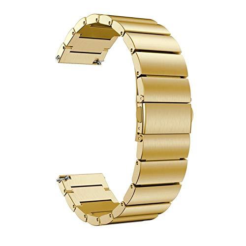 YGGFA Pulsera de acero inoxidable de lujo de 20 mm para Huawei Watch 2 correas de metal reloj correa accesorios de liberación rápida (color de la correa: oro, ancho de la correa: para Huawei Watch2)