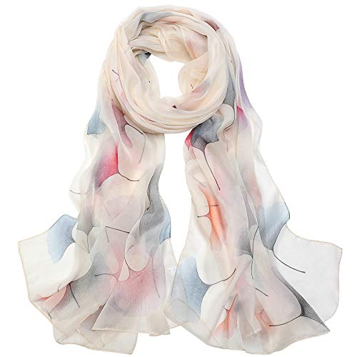 Seidenschals Damen 100% Seide Leicht Seidentuch Silk Schal Halstuch Tuch Geschenk Frauen 175 X 65cm (Ginkgo-Weiß) MEHRWEG
