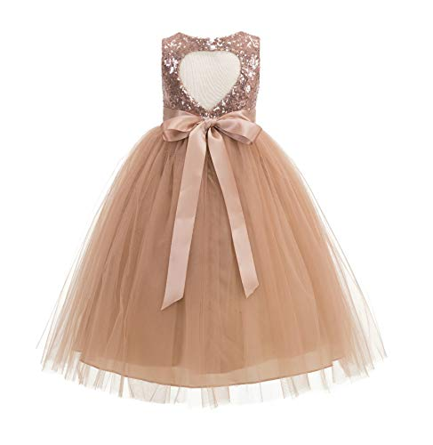 ekidsbridal Heart Cutout Sequin Junior Flower Girl Dress Christening Dresses 172seq 10 Rose Gold