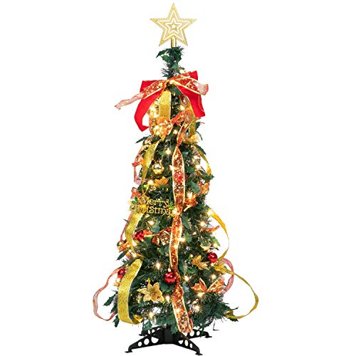 Joiedomi 3.3FT Prelit Christmas Tree, Fully Decorated Christmas Tree Prelit with 100 Warm White Light Pull Up Pop Up Out of Box Ready, Collapse for Easy Storage