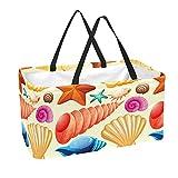 Bolsa de comestibles reutilizable grande, resistente bolsa de compras con parte inferior reforzada y asa (estampado colorido de conchas de mar de mar)