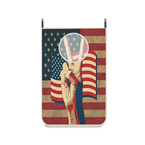 ALARGE Wäschesammler zum Aufhängen an der Tür, Vintage-Stil, amerikanische Flagge, Sieg, platzsparend, Wäschekorb, schmutzige Kleidung, Tasche, Aufbewahrung, Organisation mit Stahlhaken