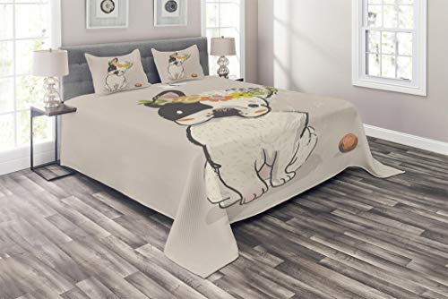 Lunarable Dog Coverlet, Hand Drawn French Bulldog with Wreath on Its Head Watercolor Domestic Pet Illustration, 3 Piece Decorative Quilted Bedspread Set with 2 Pillow Shams, Queen Size, Multicolor