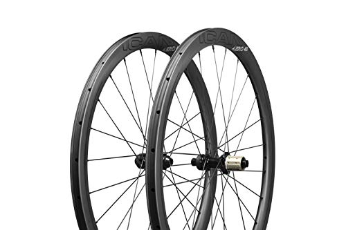 ICAN Ruote in Carbonio Aero 40 Disco Bici da Strada Ruote 40mm Clincher tubeless Ready Disco Freno 12x100/12x142mm Solo 1355g