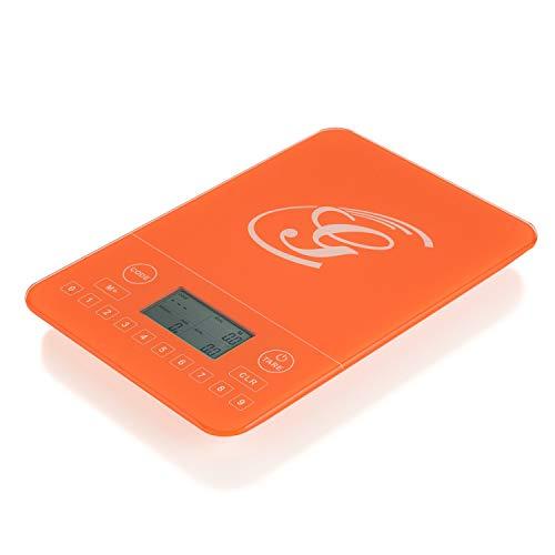 Genius Kalorien-Waage Küchen-Waage Elektronische-Waage Digital-Waage Analyse-Waage in orange mit Touchdisplay - für spielend einfache, gesunde und bewusste Ernährung