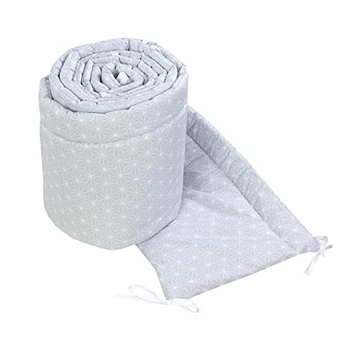 TupTam Babybett Bettumrandung Nestchen Lang Gemustert, Farbe: Rosette Grau, Größe: 420x30cm (für Babybett 140x70)