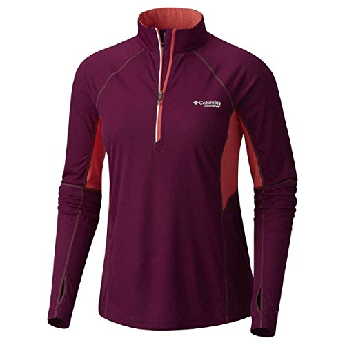 Columbia Titan Ultra Half Zip T-Shirt pour Femme L Dark Raspberry, Red Coral