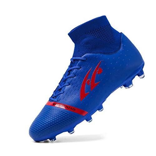 Zapatos de fútbol Hombre Uñas rotas largas Estudiantes de Primaria Niños Adolescentes Niños Zapatos de Entrenamiento de césped Artificial Transpirables Azul 42 8