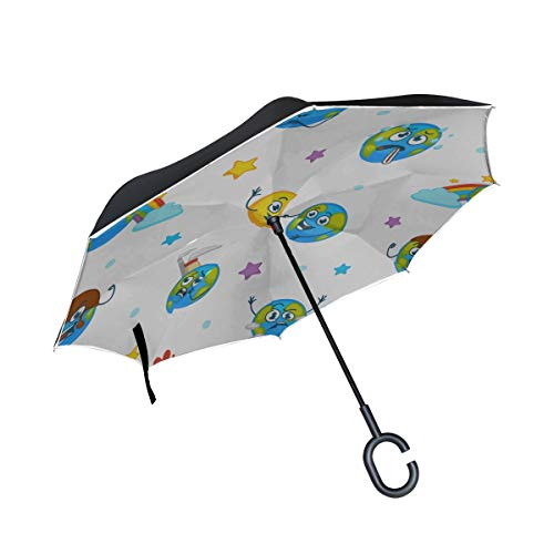 Paraguas Plegable invertido de Doble Capa Paraguas Compacto Earth Planet expresando emociones Paraguas Plegables Emojis Paraguas Plegables livianos compactos Ligero a Prueba de Viento Protección UV p