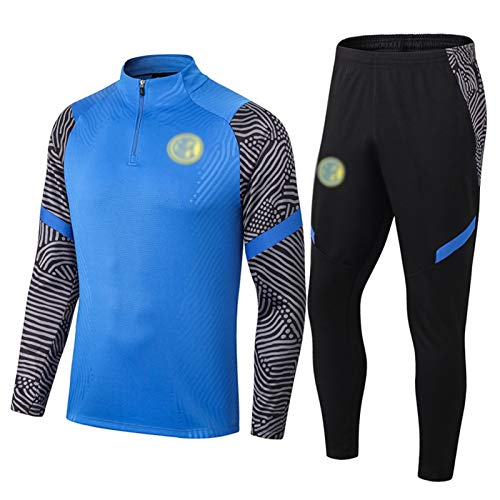 2021 Milāň Uniformes Chandal Hombre Completo De Fútbol - Pantalón Deportivo Y Sudadera para Hombre   Camiseta De Fútbol De Media Cremallera De Manga Larga Blue-XL