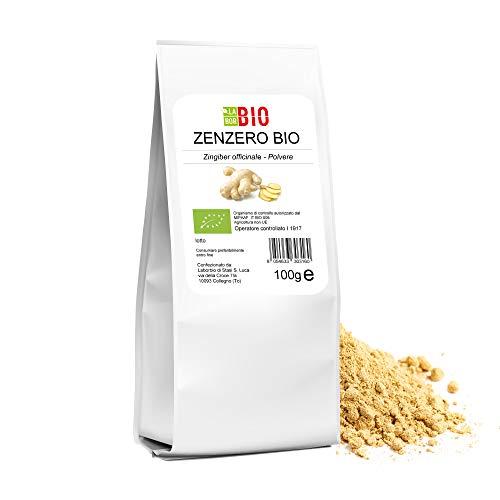 Zenzero polvere Bio 100 g - 100% Naturale Gluten free Vegan - Tisane e Spezia da cucina per condimenti - LaborBio