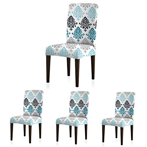 ColorBird European Style Spandex Chair Slipcovers Removable Universal Stretch Elastic Chair Protector Covers for Dining Room, Restaurant, Hotel, Banquet, Ceremony (Set of 4, Gradient Damask)
