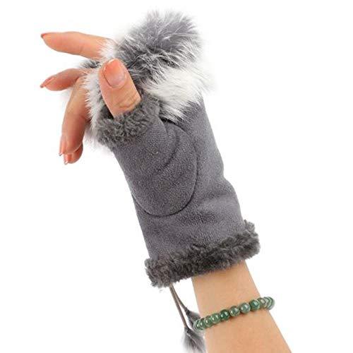 YZCX 1 par de Guantes cálidos para Mujer, Guantes de Invierno, Guantes Artificiales sin Dedos, muñeca de Pelo de Conejo Artificial Sexy, C