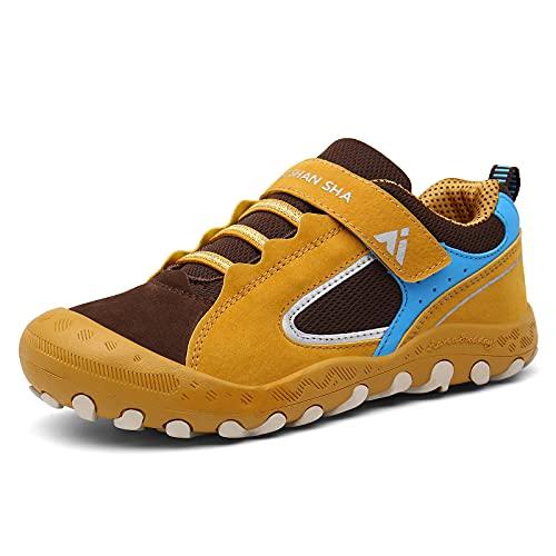 Mishansha Zapatos de Running Niñas Zapatillas Deportivas Transpirable Antideslizante Zapatos de Senderismo Ligeras Calzado Trekking, Amarillo, 33 EU