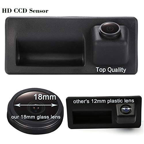Kalakus Wasserdicht Umkehrbare Fahrzeug-spezifische Griffleiste Kamera Integriert in Koffergriff Rückansicht Rückfahrkamera für Tiguan Touareg Passat Golf VI Variant Audi (Model 01578=110 * 50mm)