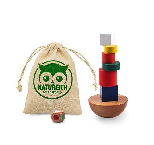 Natureich Montessori Spielzeug Turm aus Holz zum Balancieren & Stapeln von Blöcken in Bunt ab 3 Jahre für die frühe Geschicklichkeit Entwicklung Ihres Kindes