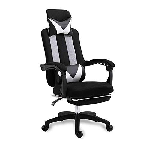 HDZWW Gaming-Stühle Ergonomischer Bürostuhl, Computer-Schreibtisch-Stuhl, Einstellbarer High-Back, atmungsaktiv hautfreundliche Masche mit Armlehne, Fußstütze und Lendenwirbelstütze (Color : Black)