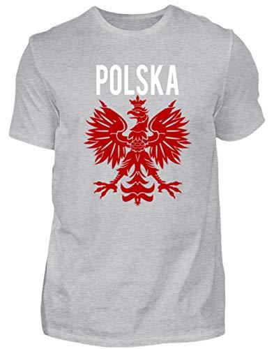 Camiseta para hombre con escudo de Polonia de Polonia, diseño sencillo y divertido Gris (mezclado). XL