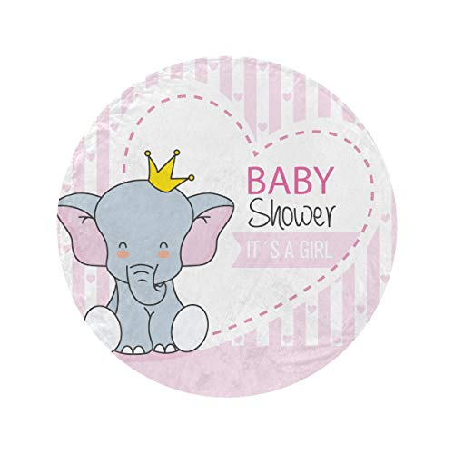 Round Baby Shower Girl Cute Elephant Crown Kids Throw Blanket Soft and Cozy Fleece Throw Blankets Circle Blankets and Throws Blanket Blanket For Home Bed Couch Travel(47in/60in)