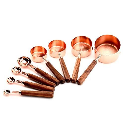 8-teiliges Messbecher-Set aus Edelstahl mit Holzgriff, Kupfer-Messbecher und Löffel, Set zum Messen von trockenen und flüssigen Zutaten, Küche, Kochen, Backen