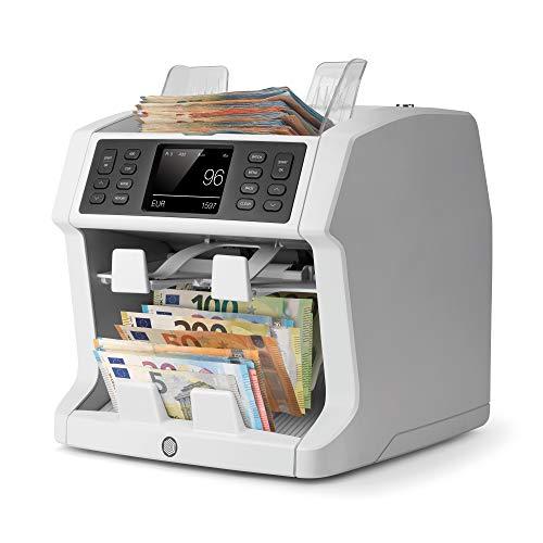 Safescan 2985-SX 2.0 - Hochentwickelter Banknotenzähler mit 2 Fächern, mit Werterkennung und -sortierung für gemischte Geldscheine
