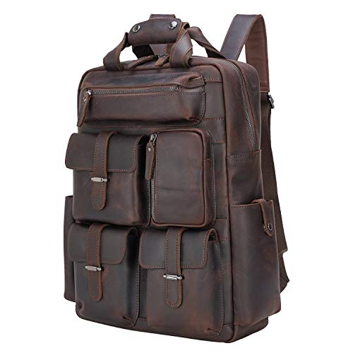 Texbo Full Grain Cowhide Leather Multi Pockets 16 Inch Laptop Backpack Travel Bag