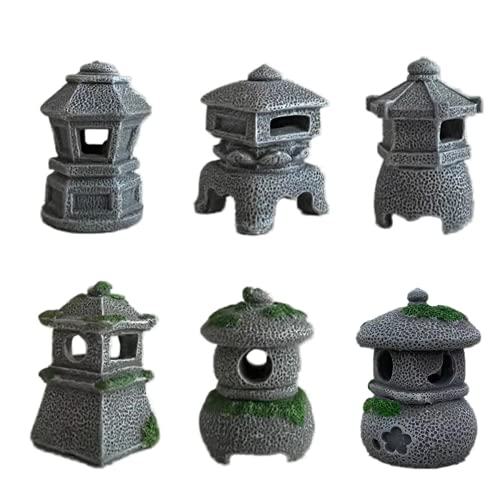 6 PCS Resin Pagoda, Miniature Japanese Lantern Statues Set, Fairy Figurines for Fairy Garden, Micro Landscape, Plant Pots, Bonsai Craft Decor