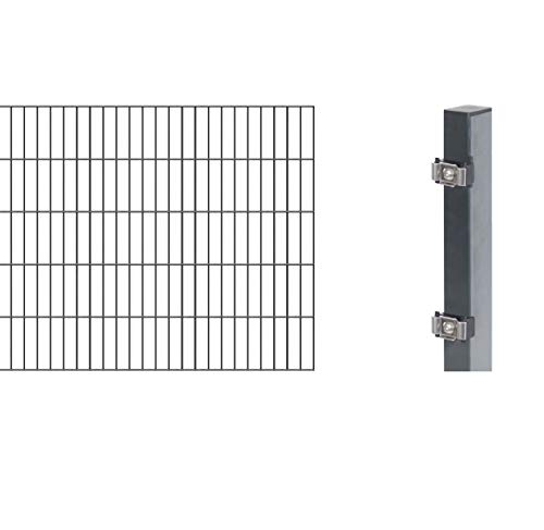 GAH-Alberts 644161 Erweiterung zum Doppelstabmattenzaun | verschiedene Höhen - wahlweise in verschiedenen Farben | kunststoffbeschichtet, anthrazit | Höhe 100 cm | Länge 2 m
