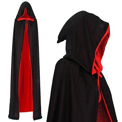 papapanda Vampir Kapuzenumhang Schwarz Rot für Erwachsene Halloween Dracula Cosplay 170cm Umhang