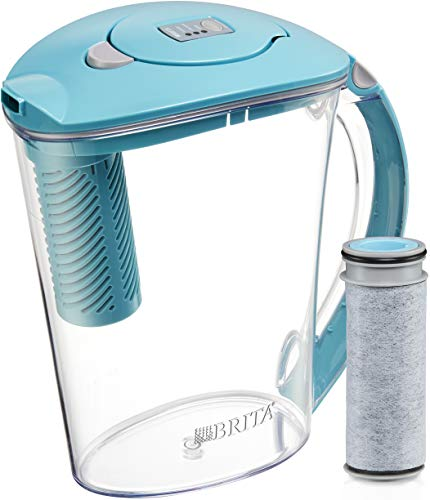 Brita Stream Rapids Water Filter Pitcher, Lake Blue, Large 10 Cup, 1 Count